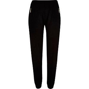 Black zip trim joggers