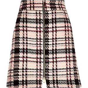 Pink check A-line mini skirt