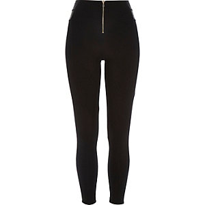 Black premium zip front leggings