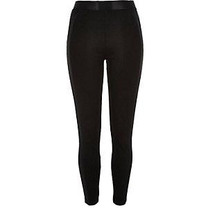 Black premium satin side leggings