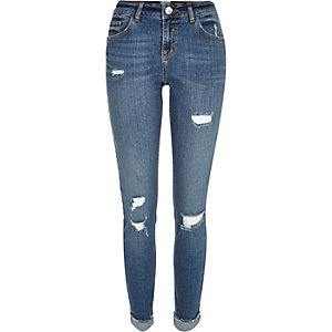 Mid wash distressed Matilda mid rise jeans
