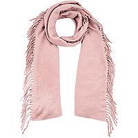 Light pink tassel scarf