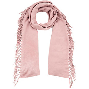Light pink tassel scarf