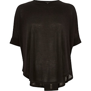 Black draped circle knitted top