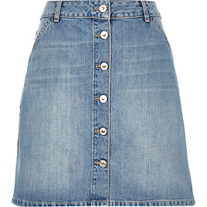 Mid wash denim A-line button-up skirt