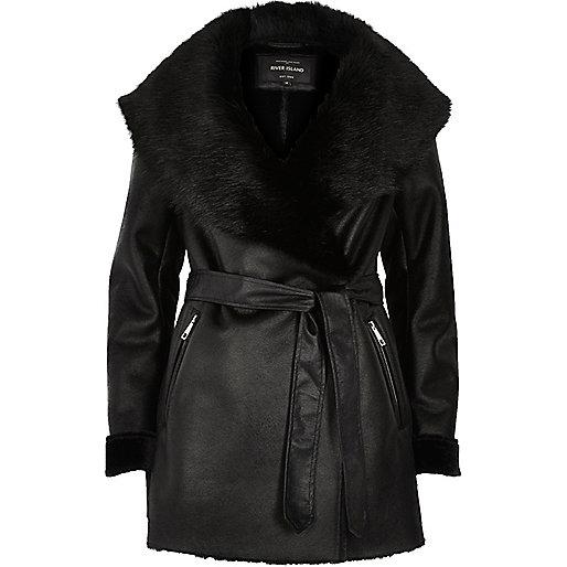 River Island Manteau en suédine noir avec ceinture