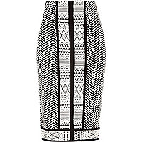 Black jacquard split front pencil skirt