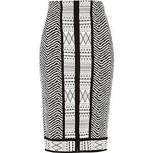 Black jacquard split front pencil skirt
