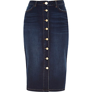 Dark denim button-up midi pencil skirt