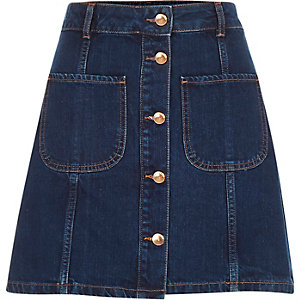 Dark wash denim button-up skirt