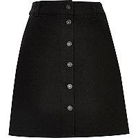 Black denim button-up A-line skirt
