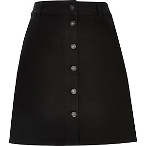Black denim button-up A-line skirt