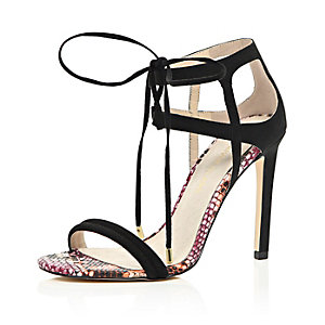 Black lace-up barely there heels