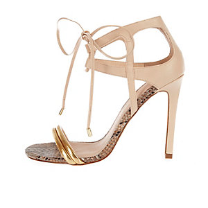 Nude barely-there caged lace-up heels