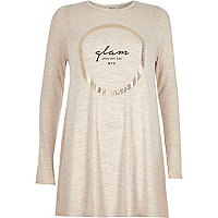 Beige foil glam print swing top