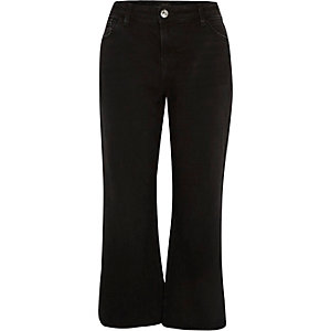 Black cropped raw hem flare jeans