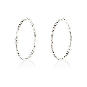 Silver tone diamante hoop earrings