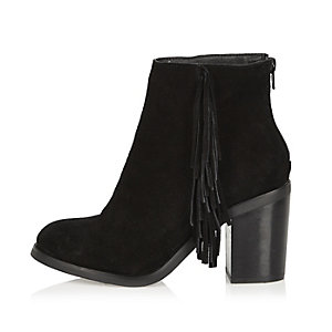 Black suede fringed ankle boots