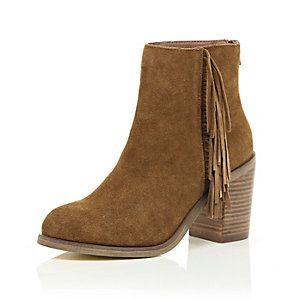 Tan suede fringed ankle boots