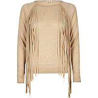 Cream fringed side top