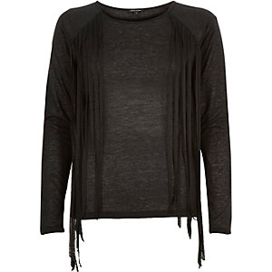Black fringed side top