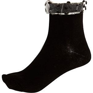 Black dotty frill ankle socks