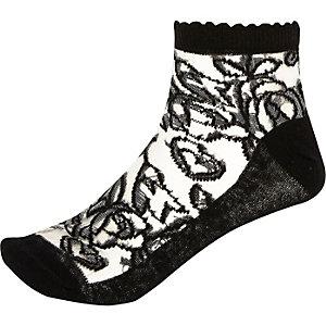 Black rose mesh socks