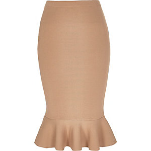 Camel knitted fluted pencil skirt