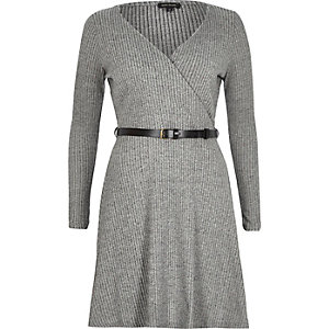Grey ribbed wrap front skater dress