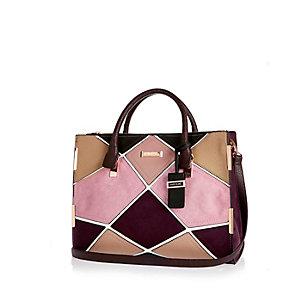 Beige patchwork tote handbag