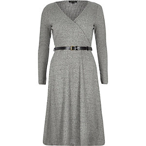 Grey ribbed wrap front midi skater dress