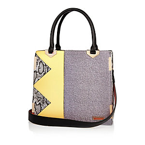 Grey zig zag tote handbag