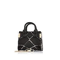 Black patchwork panel handbag keyring