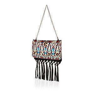 Black suede embellished tassel handbag