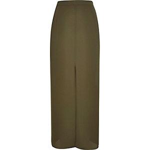 Khaki split front maxi skirt