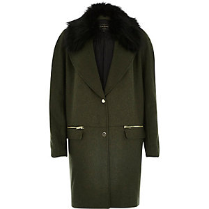 Khaki wool-blend faux-fur trim coat
