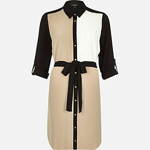 Beige colour block belted shirt dress