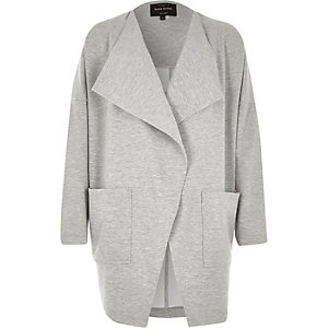 Grey loose fit jersey jacket