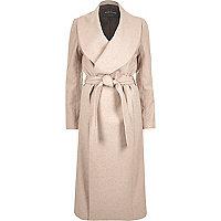 Oatmeal beige wool-blend robe coat
