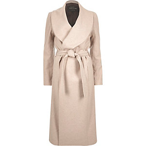 Oatmeal beige wool-blend robe coat