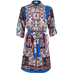 Blue tile print shirt dress