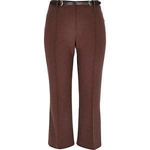 Brown cropped kick flare pants