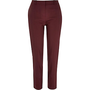 Dark red slim cigarette trousers