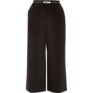 Black smart belted culottes