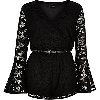 Black lace 70s bell sleeve playsuit