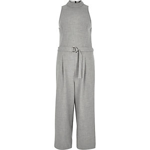 Light grey D-ring culotte jumpsuit