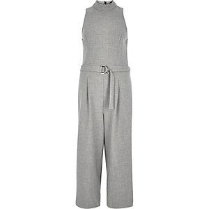 Light grey D-ring culotte jumpsuit