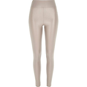 Beige coated high waisted leggings