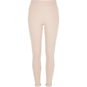 Light pink denim high waisted leggings