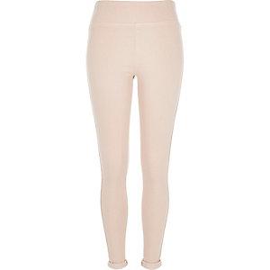 Light pink denim high waisted leggings